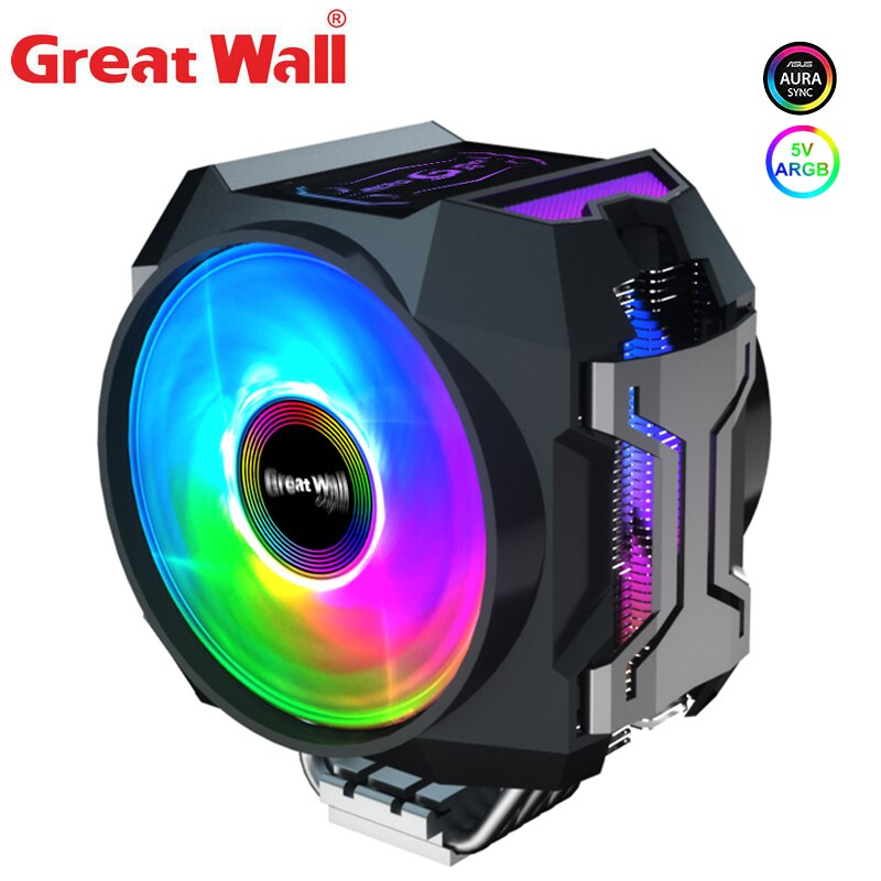 وحدة المعالجة المركزية الجدار العظيم برودة RGB المزدوج 120 مللي متر PWM مروحة التبريد 6 أنابيب الحرارة الكمبيوتر برودة ل LGA 1150 1151 2011 2066 AM4 تبريد الك...