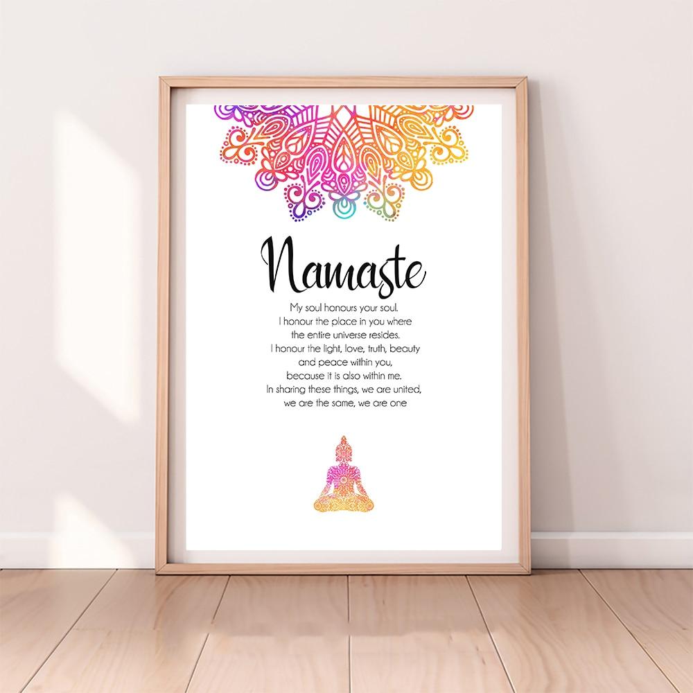 Namaste definição citação impressão zen yoga arte da parede pintura em tela buda mandala imagem moderno e minimalista cartaz casa decoração do quarto