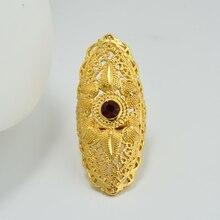 24K Rot stein farben Gold Farbe Dubai Ring Schmuck Afrikanische Äthiopischen ringe für Frauen Hochzeit Schmuck Party Geschenke