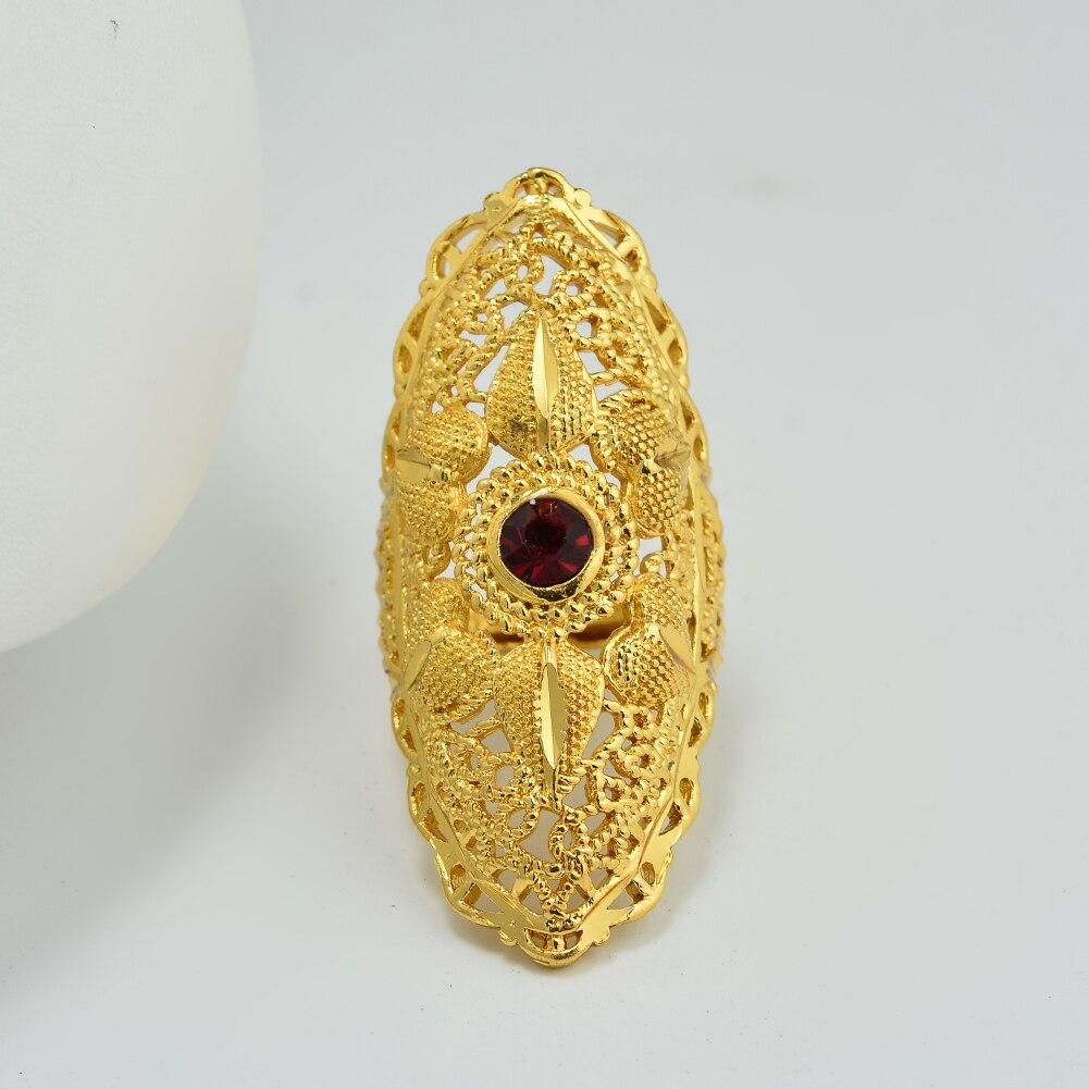 Anillo de Dubái de 24K con piedra roja y colores dorados, anillos etíope africano para mujer, joyería de boda, regalos para fiestas