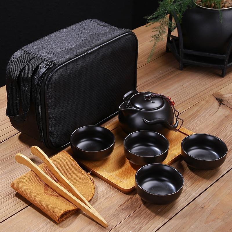 Изготовленный на заказ Китайский оригинальный керамический портативный набор чайников для путешествий на открытом воздухе чайные чашки для чайной церемонии отличный подарок