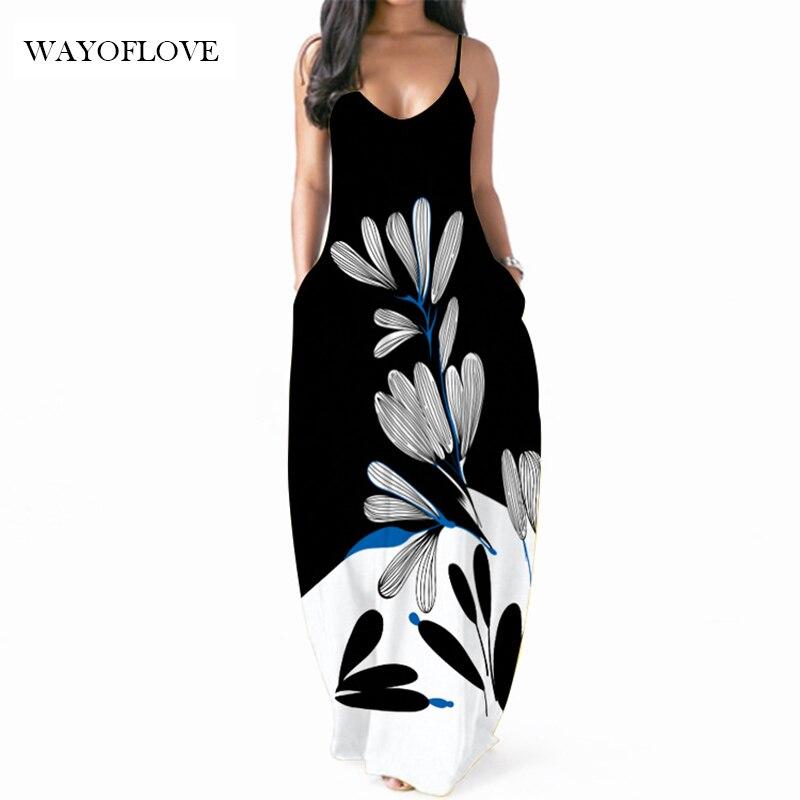 WAYOFLOVE Black White Sexy Strap Dress 2021 Plus Size Robe Dresses Summer Sundresses Casual Beach Pa
