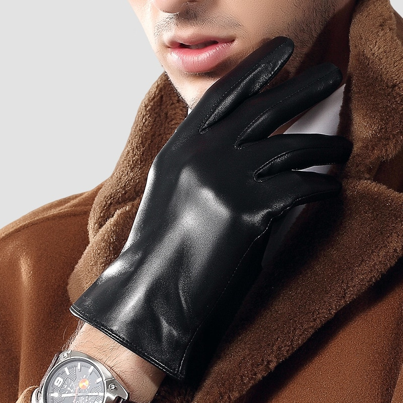 2020 Genuien Leather Gloves Male Spring Autumn Fashion Thin Driving Sheepskin Gloves Man Classic Black Leather Gloves TU3863-60 man s real leather gloves thin spring autumn driving sheepskin gloves male unlined fashion simple free shipping te0625a