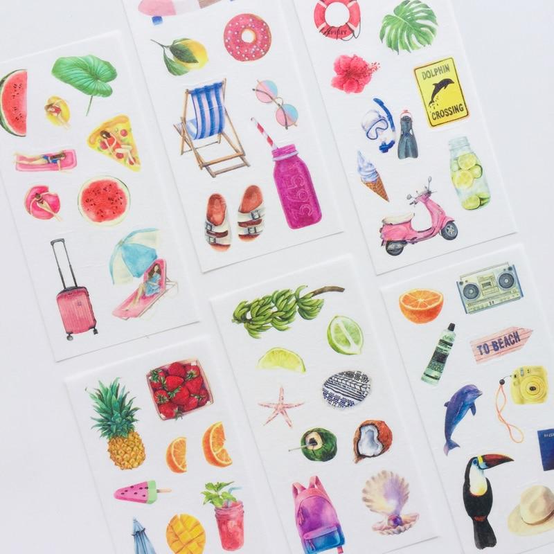 pegatinas-adhesivas-decorativas-de-papel-washi-6-hojas-para-vacaciones-en-hawai-verano