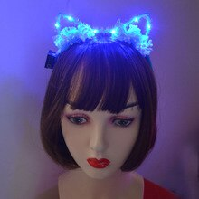 Led Crown Ear Flower Headband Party Light Blinking Tiara Headwear Carnival Birthday Gift Wedding Glow Party Wreath