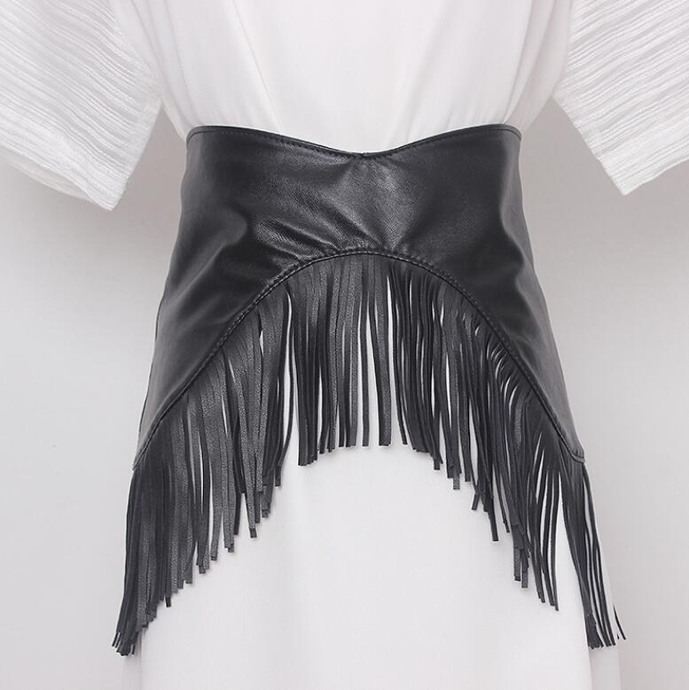 Damska runway moda czarny pu skóra tassel Cummerbunds damska sukienka gorsety pas pasy dekoracji szeroki pas R211