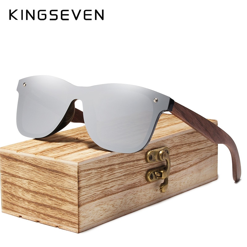 KINGSEVEN Fashion Men Sunglasses Polarized Walnut Wood Mirror UV400 Lens Sun Glasses Women Brand Des