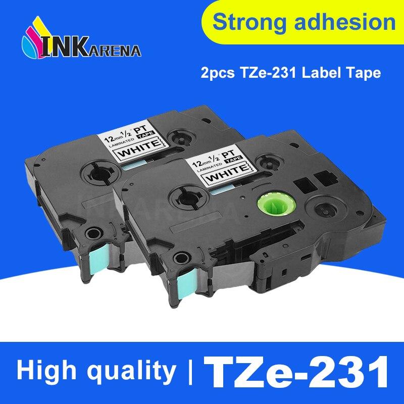 INKARENA 2 piezas etiqueta cinta cintas laminado Tze-231 P-touch impresora 12mm Compatible hermano negro sobre blanco tze 231 Tze231