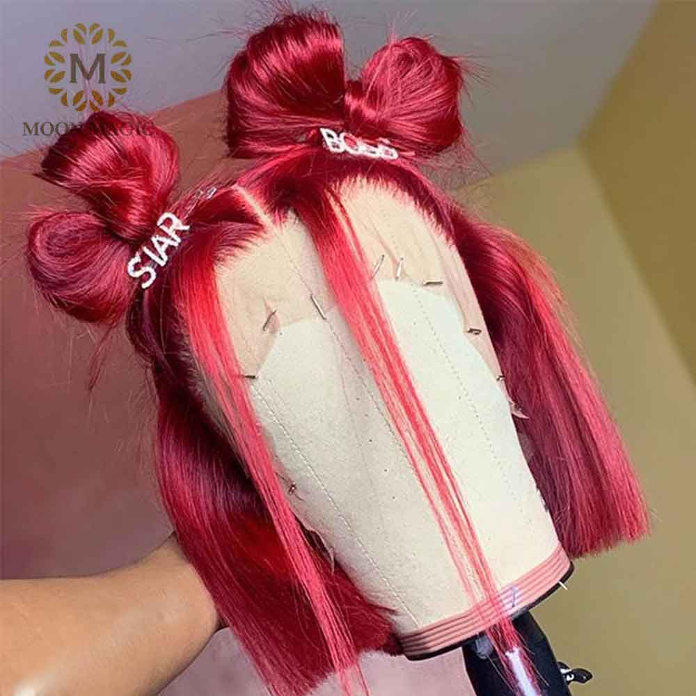 Blunt Cut Wig Red 360 Lace Frontal Wig Straight Bob Colored Human Hair Wigs Full Lace Short Bob Wigs Preplucked 130% Remy