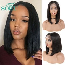 Short Bob Wig Synthetic Lace Wigs Straight Hair For Afro Black Women SOKU Dark Brown Color Daily Middle Part Bob Lace Wig