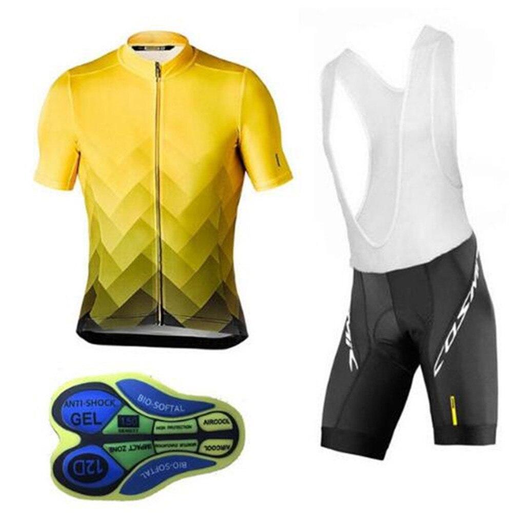 MAVIC-Conjuntos de Ciclismo para equipos profesionales, Maillot amarillo, Ropa de Ciclismo 12D para el verano, 2020