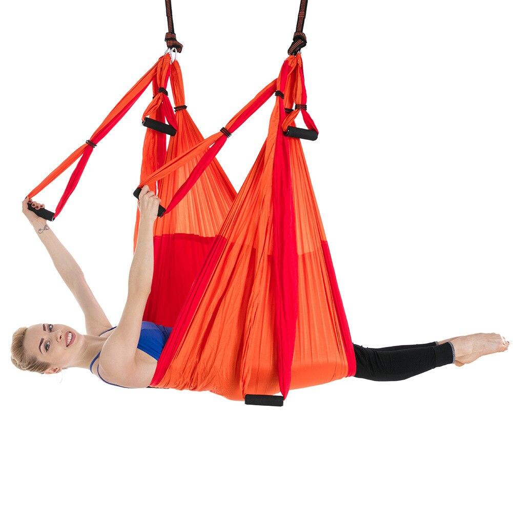 Amazon reversal aerial yoga hammock 6-handle non-elastic reversal gravity double color matching fitness hammock