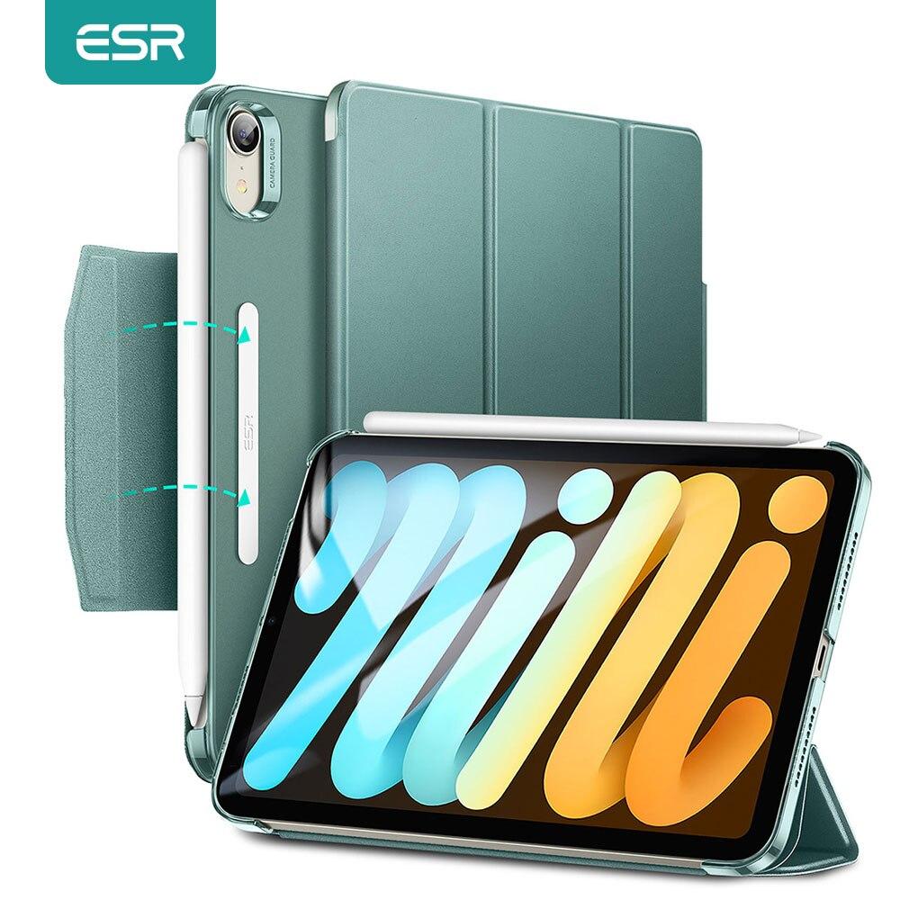 ESR حافظة لجهاز iPad mini 6 ثلاثية الطي 2021 حافظة لجهاز iPad mini 6 غطاء ذكي مع حامل قلم رصاص حامل مغناطيسي لجهاز iPad mini 6
