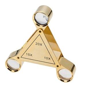 Triangle Foldable Magnifier 10X 15X 20X Jeweler Optics Loupes Magnifying Glass X4YE