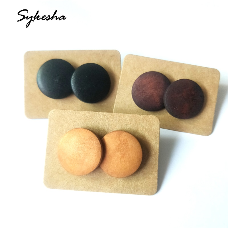 New Hot High Quality 3 pairs/set Round  Black Wood Stud Earrings Set Women Simple Promotions Statement Earrings