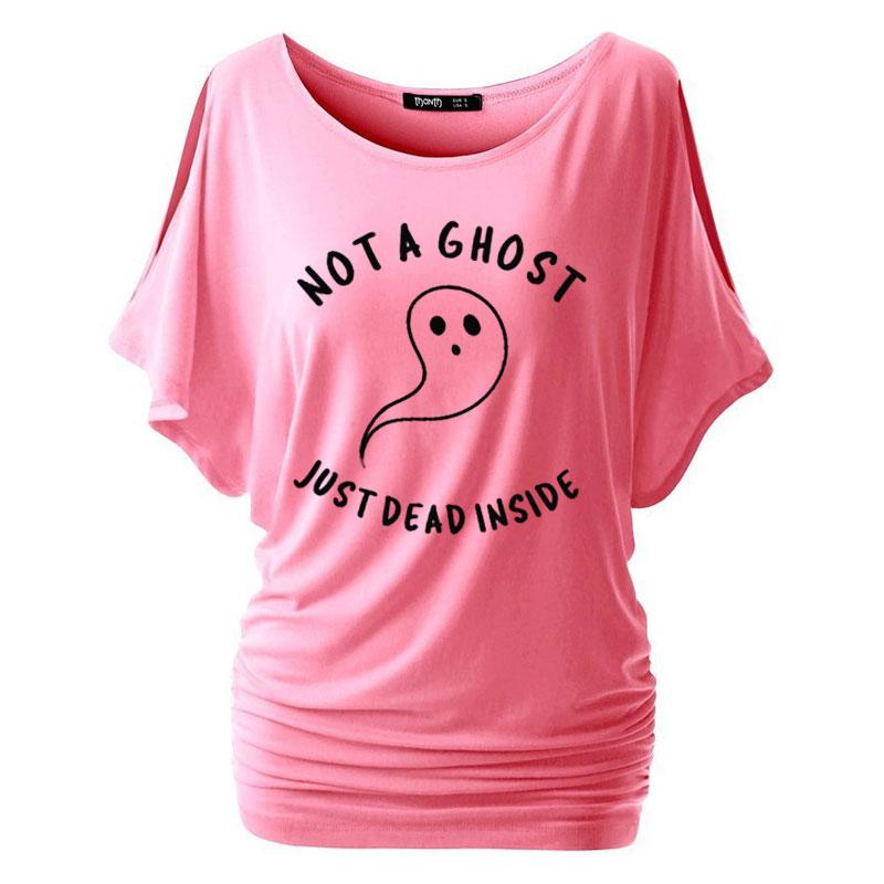 Camiseta divertida de algodón con manga de murciélago de Halloween para mujer de NOT A GHOST JUST DEAD INSIDE, camiseta grunge tumblr