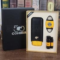 COHIBA Leather Cigar Case Travel Humidor With Lightet Cutter Set Metal Gas Torch Lighters Sharp Blade Cigar Cutter