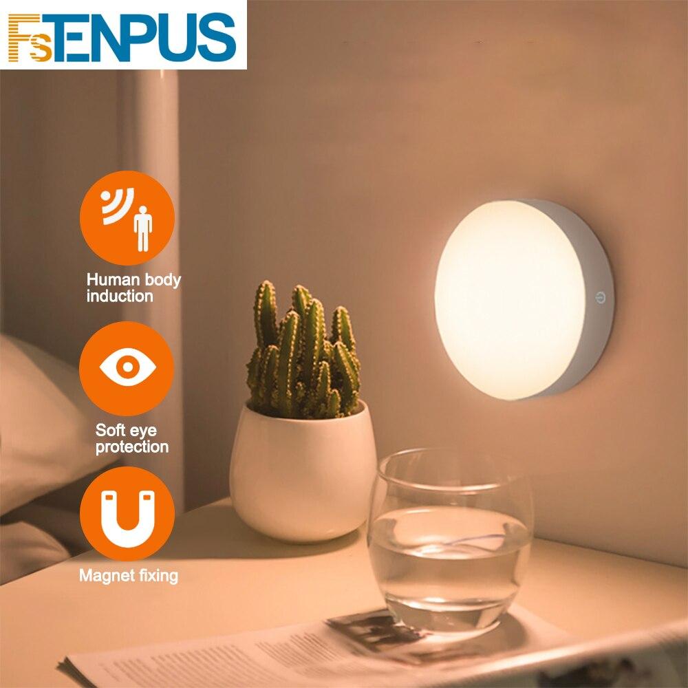 Fstenpus 6 LED PIR Motion Sensor Nachtlampje Auto On/Off voor Slaapkamer Kast Draadloze USB Oplaadbare Warm Wit /wit Licht