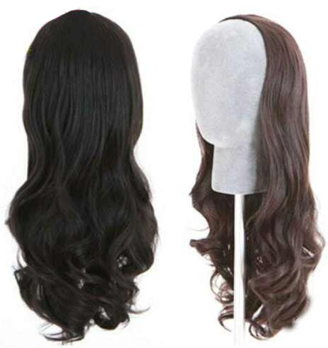 European Virgin Human Hair 3/4 Half Wigs Sheitels Kosher Wig Slight Wave Hairpiece None Lace Wig with Combs or Clips for Jewish