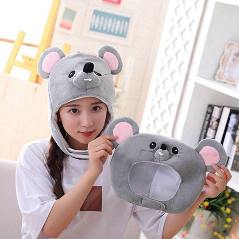 Plush Faux Fur Animal Rat Hat Cap Soft Warm Winter Headwear Fun Cute Beanie Hat Fleece Lining Earmuff Plush Huskies Hats