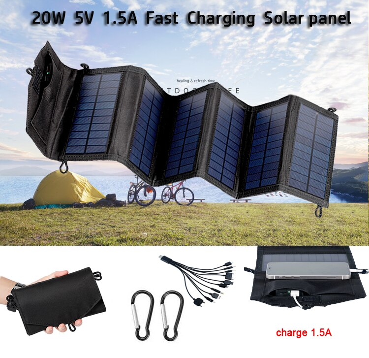 Camping Portable Solar Panel Folding Outdoor 20W 5V USB Charger Solar Battery For Mobile Phone Car Yacht RV Lights Charging