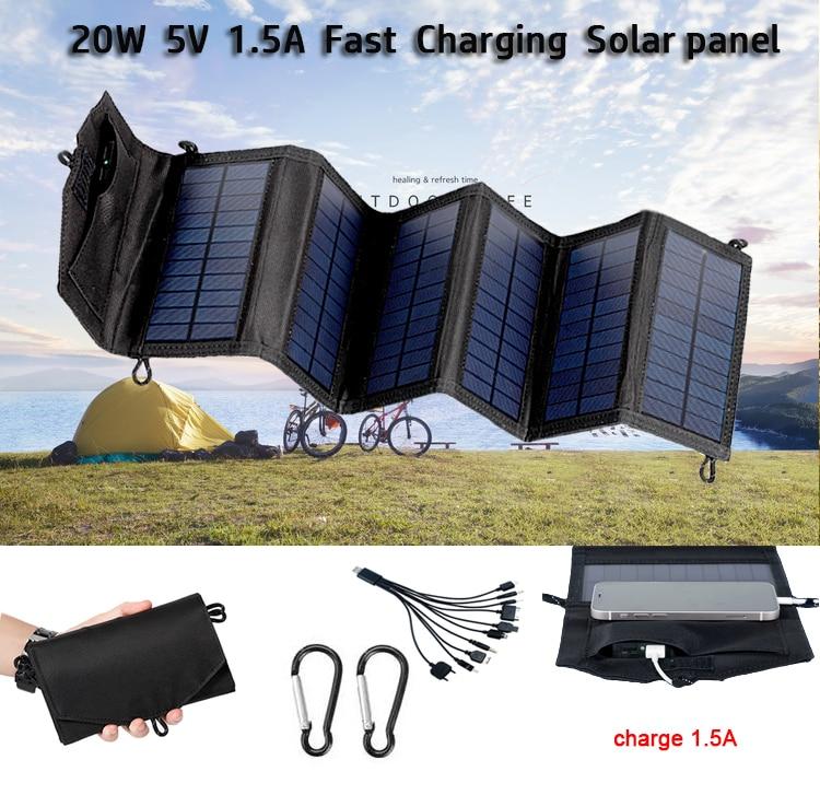 التخييم ألواح الطاقة الشمسية المحمولة للطي في الهواء الطلق 20 واط 5 فولت شاحن يو اس بي البطارية الشمسية للهاتف المحمول سيارة يخت RV أضواء شحن