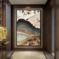 chinese style wall art canvas painting abstract golden sea waves retro posters and prints modern modular picture home decoration