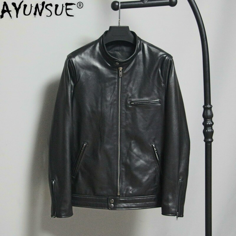 AYUNSUE Genuine Leather Jacket Men Spring Fall 100% Goatskin Leather Coat Men Clothes 2020 Motorcycle Jacket Campera Hombre