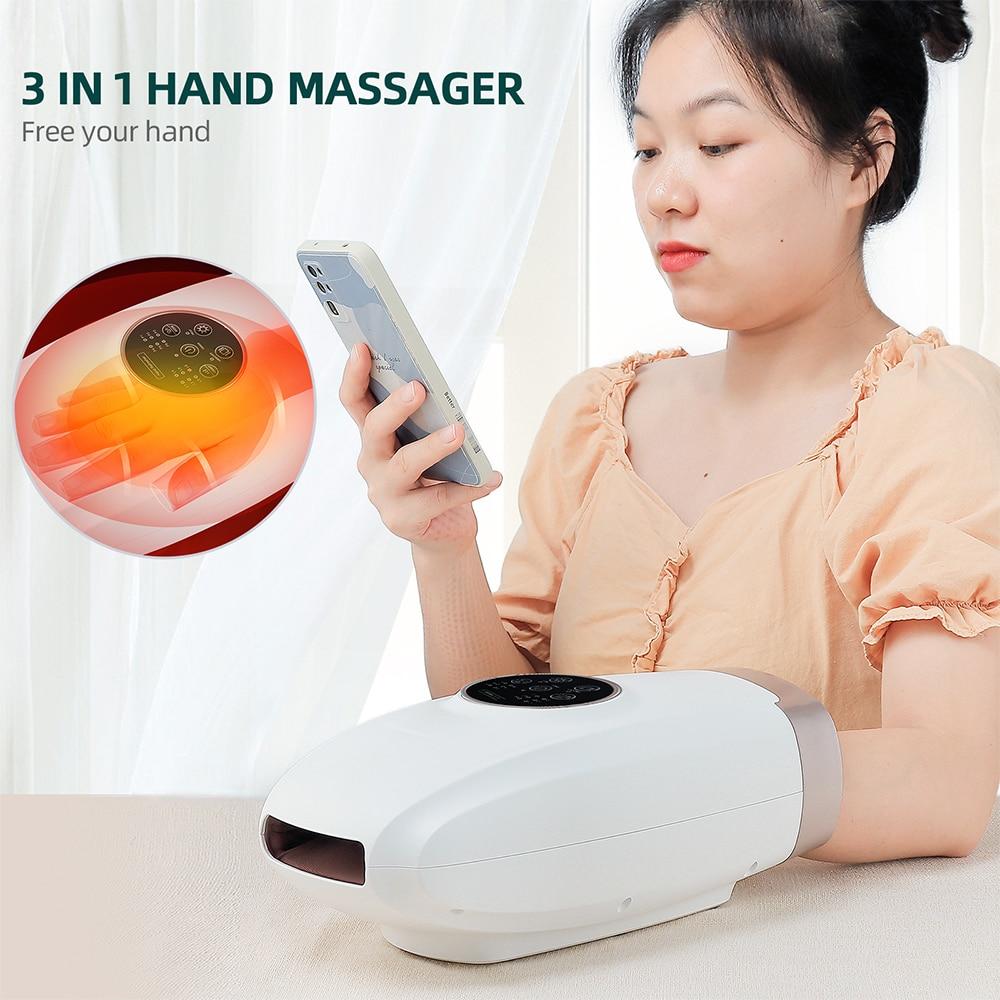 Cordless Hand Massager USB Palm Finger Massage with Air Pressure Heat Compress For Arthritis, Pain Relief Acupressure Massager