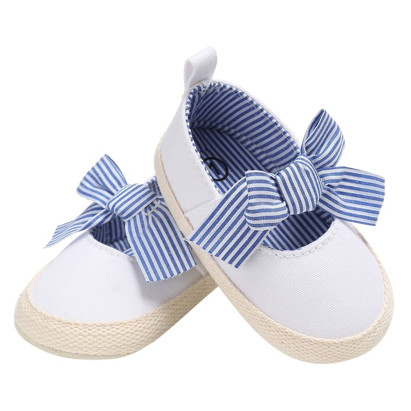 Zapatos de bebé niñas 2019 a rayas arco niño princesa cuna Zapatos Bebé primeros caminantes recién nacido suave suela antideslizante zapato 0-18M