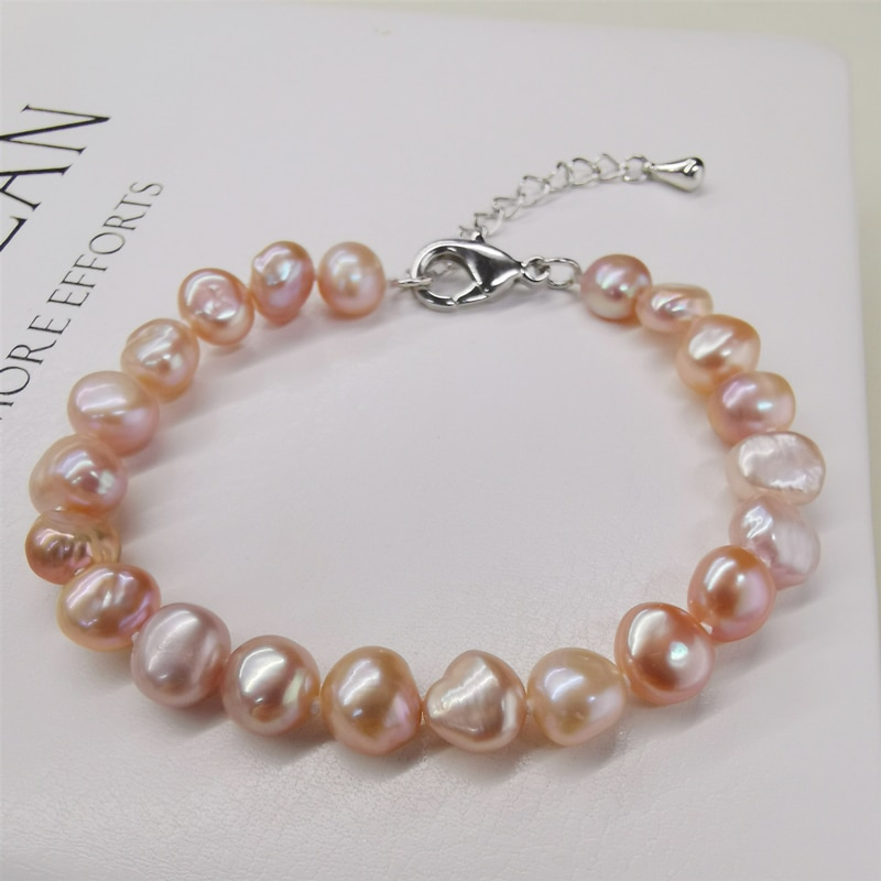 DAIMI, pulsera de perlas naturales de agua dulce, estilo clásico, pulseras blancas/moradas/rosadas/negras para mujer
