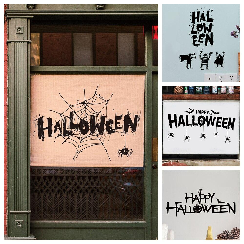 Autocollant-pegatinas decorativas para Halloween, vinilo decorativo para pared de naklejki na sciane