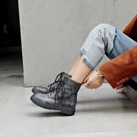 flat bottomed thick heeled classic motorcycle boots cross straps large size female ankle boots army green plush warm martin boot