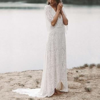 Bohemian Lace Boho Wedding Dress Beach A Line Batwing Sleeves V Neck High Low Bridal Photoshoot Bridesmaid Gown Custom Made 9270