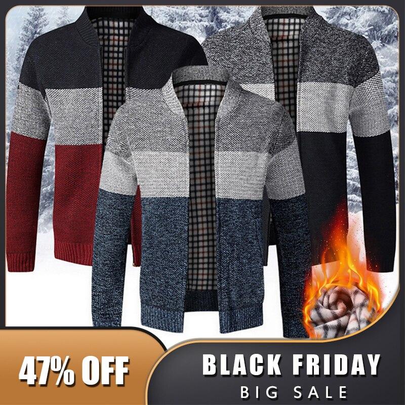 Плотный мужской свитер 2020, мужской кардиган, облегающий вязаный свитер на молнии, теплый осенне-зимний Кардиган, повседневный мужской карди...