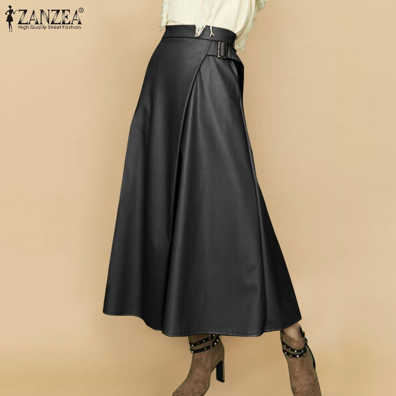 ZANZEA Elegant Women PU Leather Skirts Autumn Casual Zipper Office Lady Faldas Saia Party Jupe High Waist Solid Long Skirt Robe beach maxi long skirt zanzea summer zipper skirts women elegant solid skirts bohemian skirt jupe female faldas saia oversized