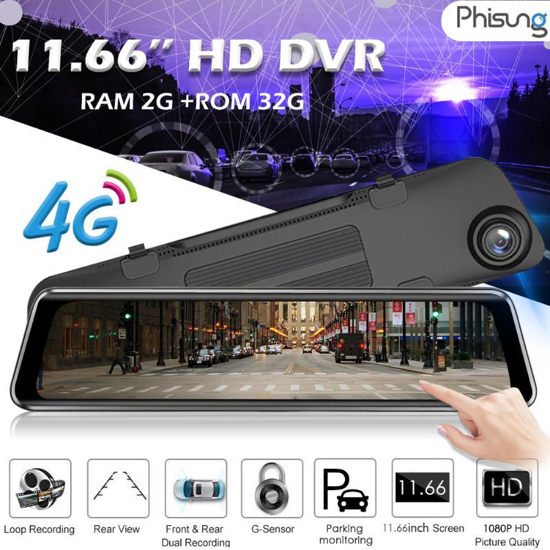 Phisung Z66 4G Android 8,1 11,66 pulgadas 1080P HD coche DVR Cámara espejo retrovisor WiFi GPS FM Bluetooth Dash Cam accesorios para coche
