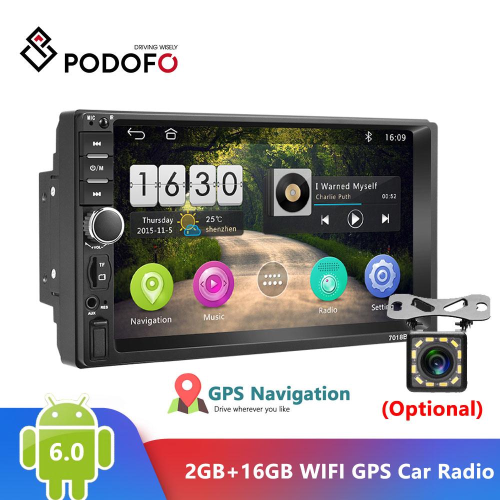 "Podofo Android 6,0 2 Din coche Radio RAM 2GB + ROM 16GB Android 7 ""2Din coche Universal Radio Autoradio GPS Multimedia unidad jugador"