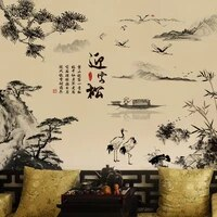 chinese style ink painting landscape wall decals pine boat home decor pvc vinyl wallpaper bamboo mountain wall decals