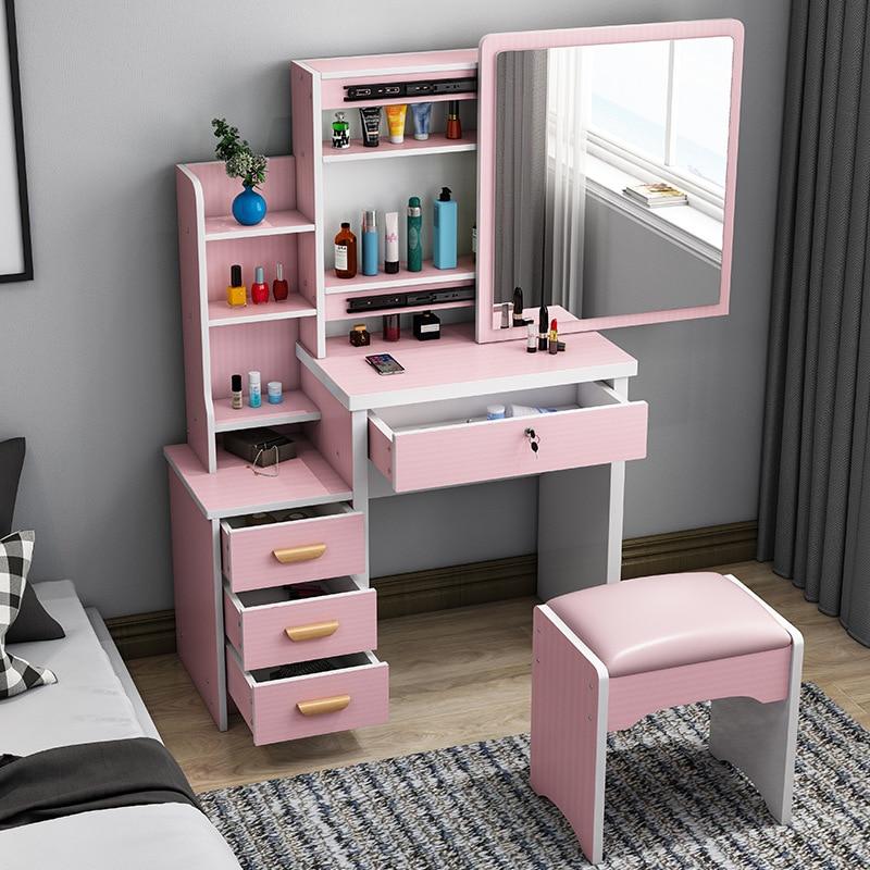 Деревянный туалетный столик с зеркалом и стулом для макияжа, туалетный столик со светодиодсветильник кой, фотошкафы для спальни 80 см