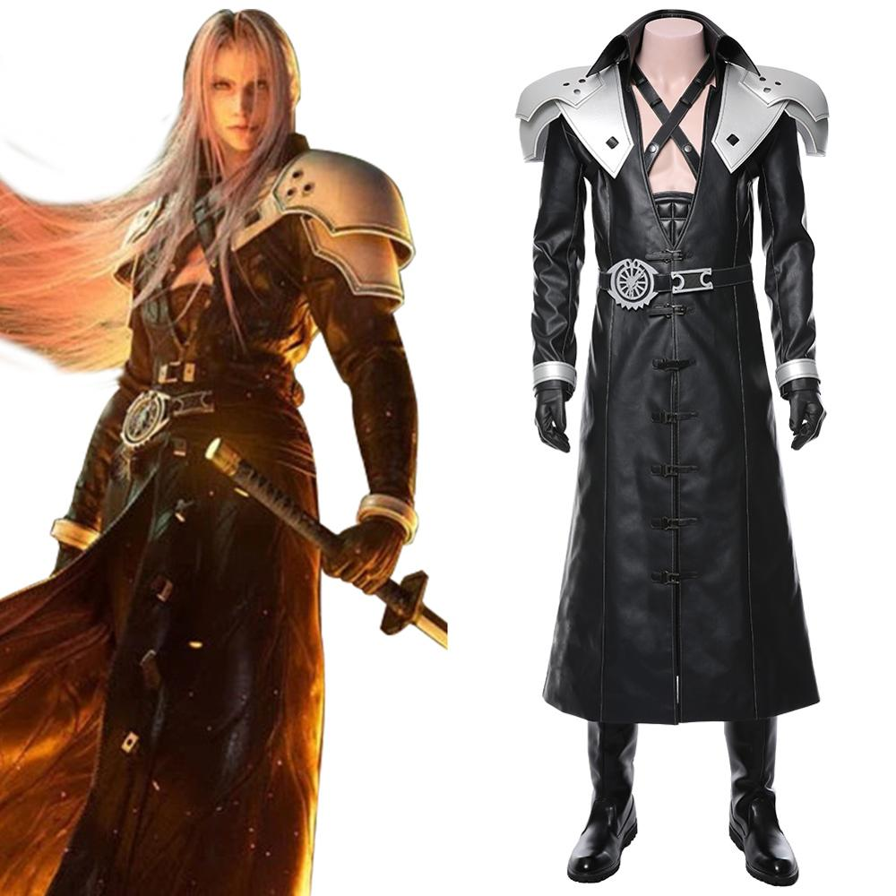 Sephiroth Cosplay Final Fantasy VII: Remake Costume Trench Coat Outfit Adult Men Halloween Carnival Costumes
