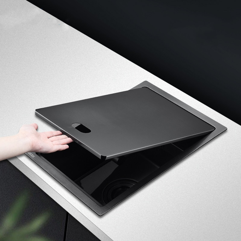 أسود مخفي بالوعة المطبخ حوض مطبخ مصنوع يدويًا مع غطاء وعاء واحد 304 حوض مطبخ ستنلس ستيل مع للطي صنبور 4 مللي متر