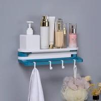 self adhesive towel holder rack punch free bathroom shampoo sundries storage racks with hooks home kitchen refrigerator shelf