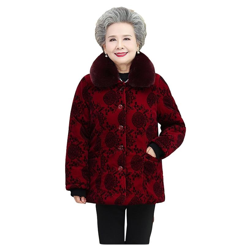 Grandma cotton coat autumn winter plus velvet thick parka jacket women elderly clothes women winter fur collar overcoat 5XL