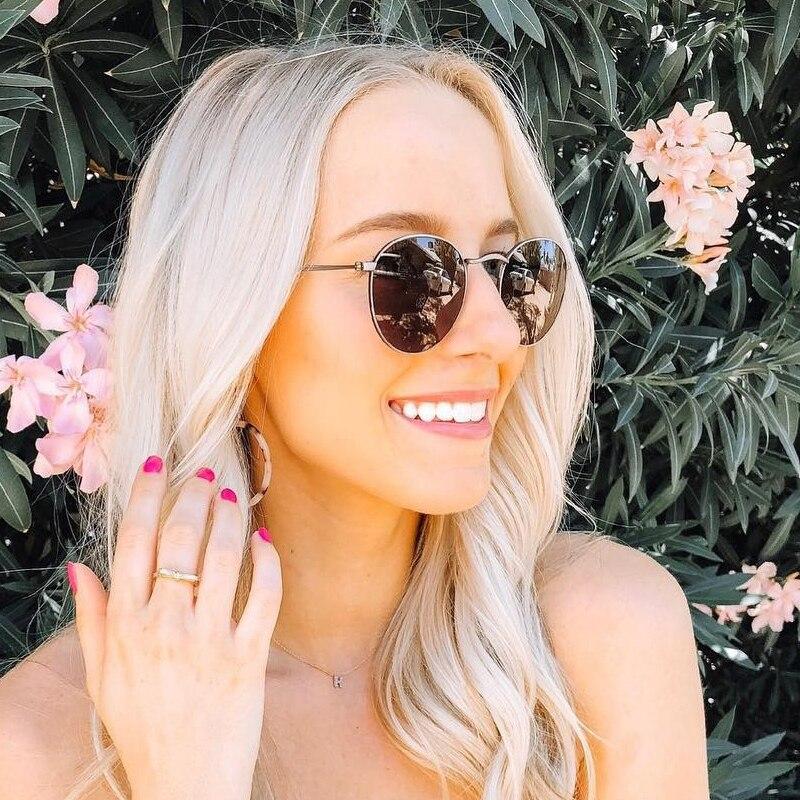 2020 gafas de sol redondas Retro para mujer, gafas de sol de marca de diseñador para mujer, gafas de sol de lujo Ray Pink para mujer, gafas UV400