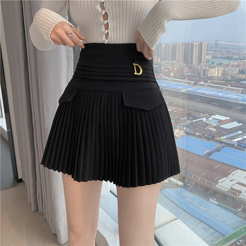 أسود مطوي التنانير النساء عالية الخصر تنورة صغيرة معدنية رسالة D تصميم ألف خط كلوبوير الكورية مثير الشارع الشهير تظهر عادية Z325