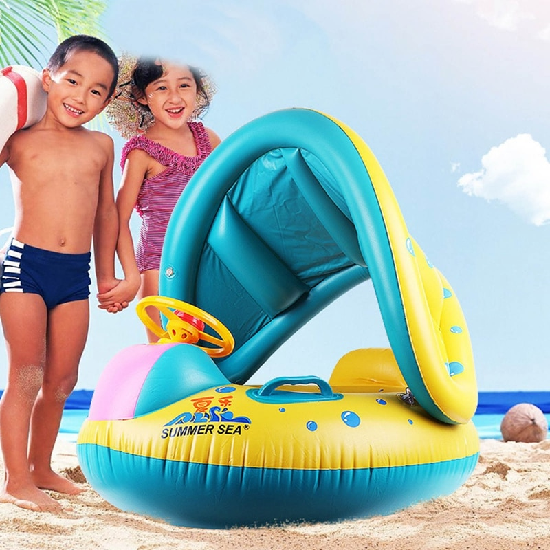 2017 new high quality safety baby need not inflatable floating ring round the neck round floating ring toy baby swimming pool Cartoon Swimming Pool Inflatable Swimming Ring Children's Pool Accessories Sun Protection Baby Inflatable Safety Floating Ring