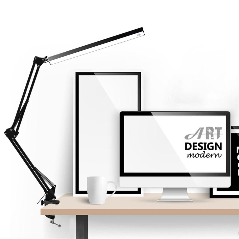 Lámpara de mesa LED de aleación de aluminio plegable Clip-on USB LED lámpara de mesa brazo largo Control táctil Dimmable lámpara de escritorio envío sin ojos