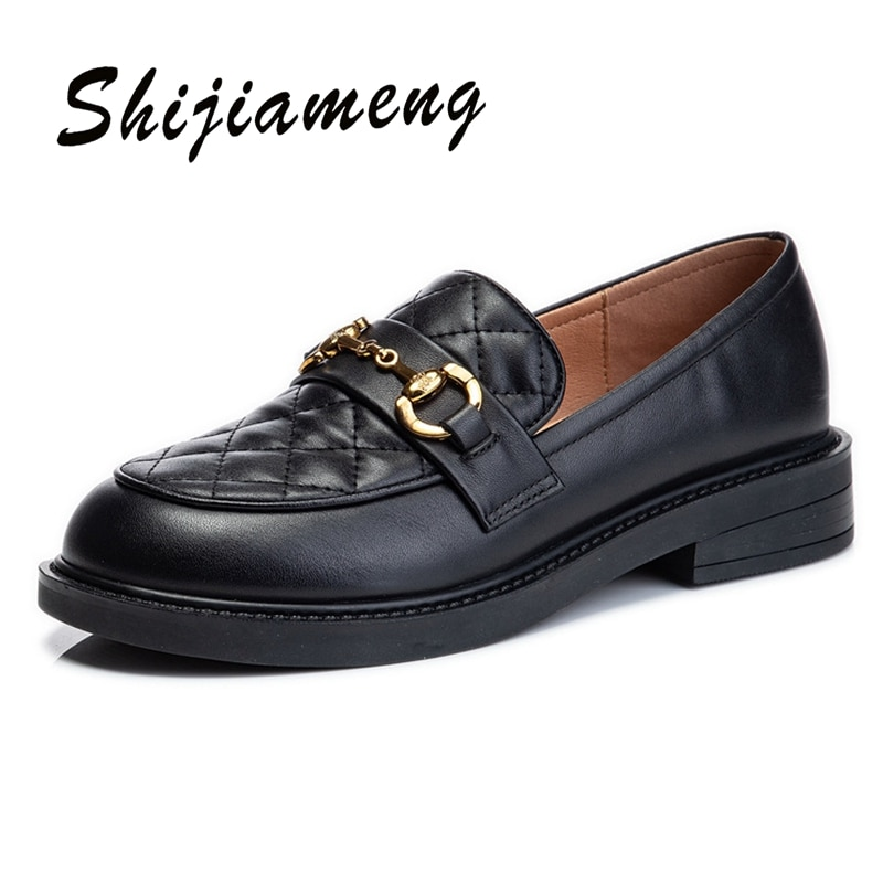 Top leather women's shoes spring 2021 new fashion single shoes women's thick heel casual shoes women