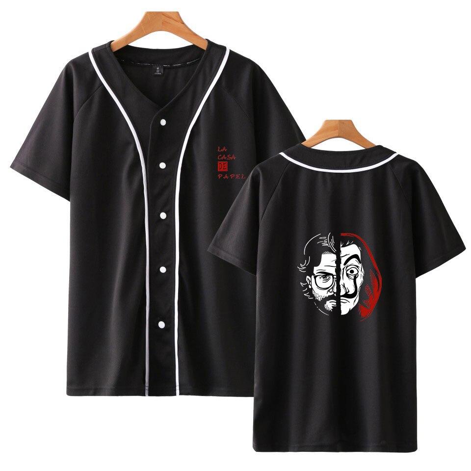 La casa de papel béisbol camiseta hombres alta moda verano manga corta nueva tendencia Casual Tops